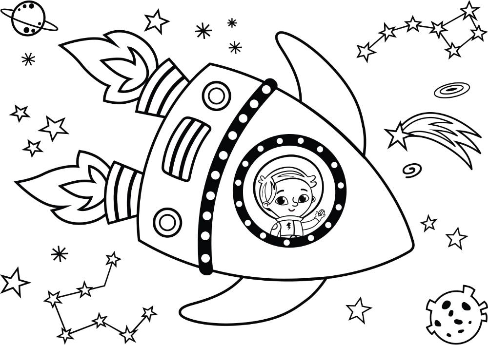 Free ASTRONAUTS & SPACE Coloring Pages for Download (PDF)