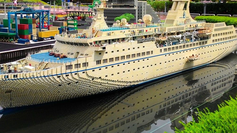 This is a close look at a huge white luxury liner made of lego.