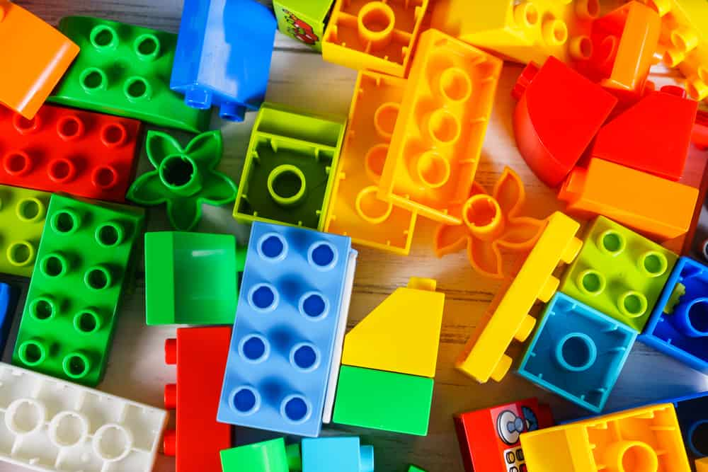This is a close look at various colorful pieces of lego.