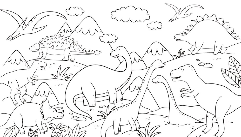 Dinosaur coloring page for kids.