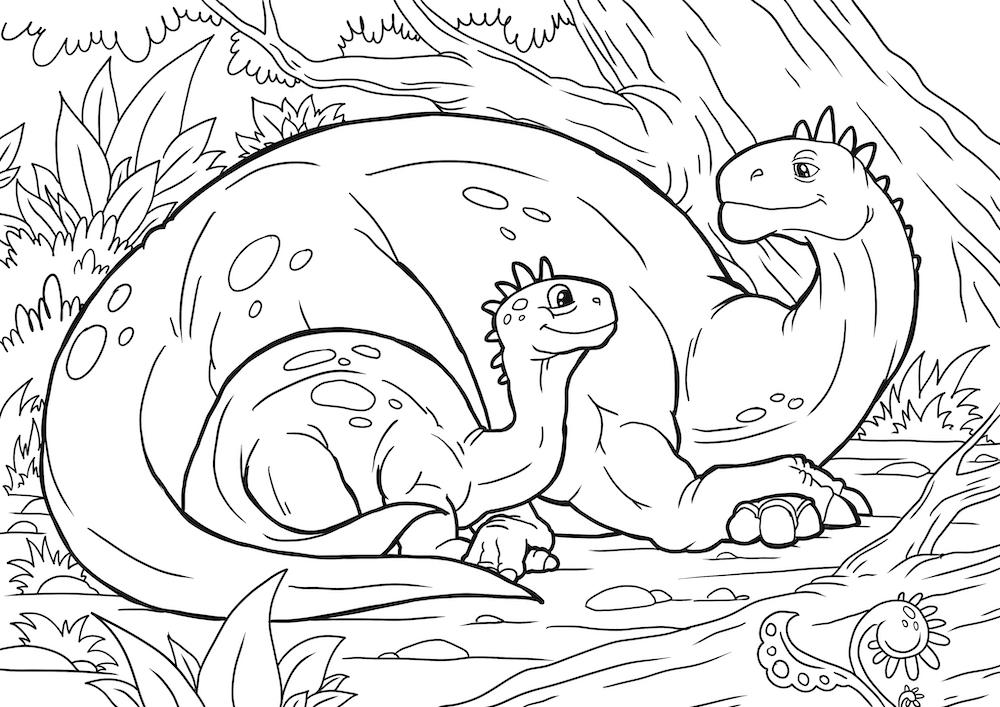 Mama and baby dinosaur