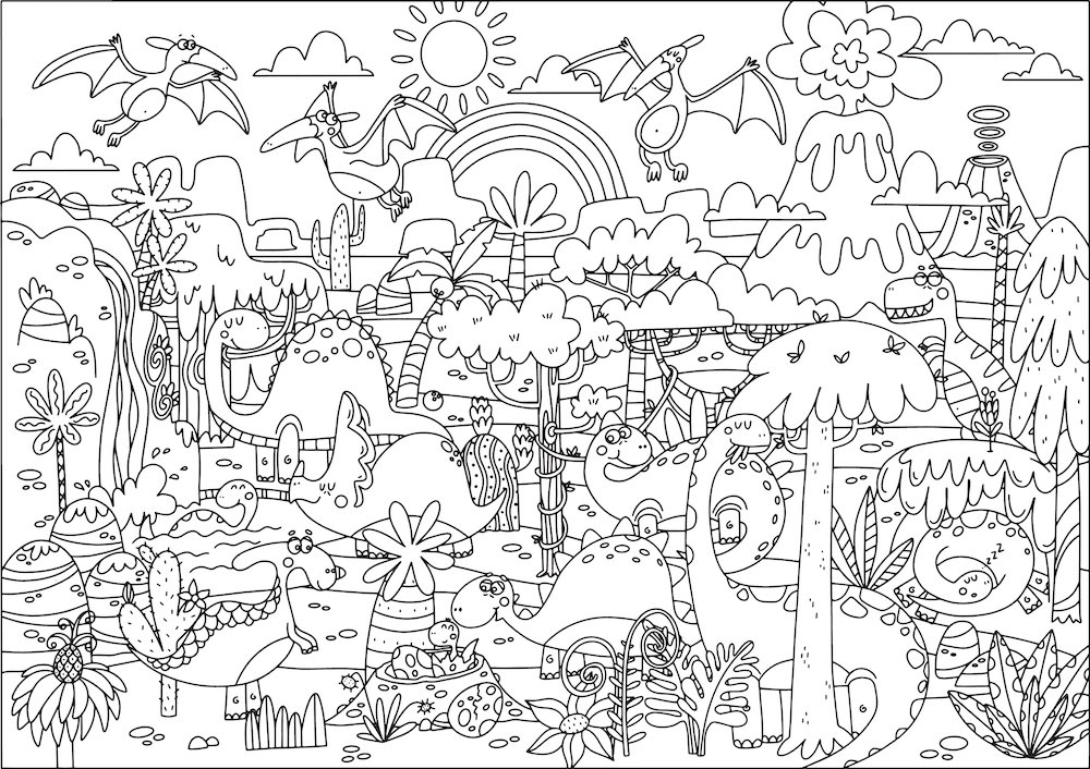 Huge dinosaur illustration featuring dinosaurs, trees, mountains, rainbow and more.