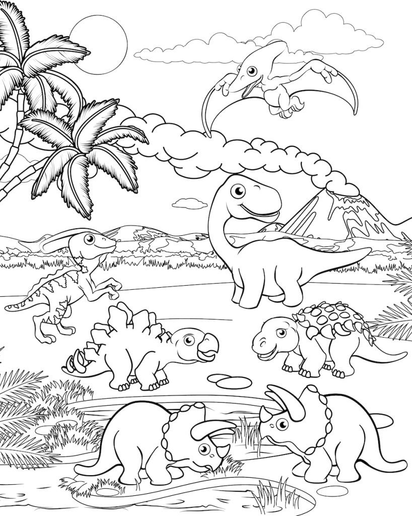 Free DINOSAUR Coloring Pages for Download (PDF)