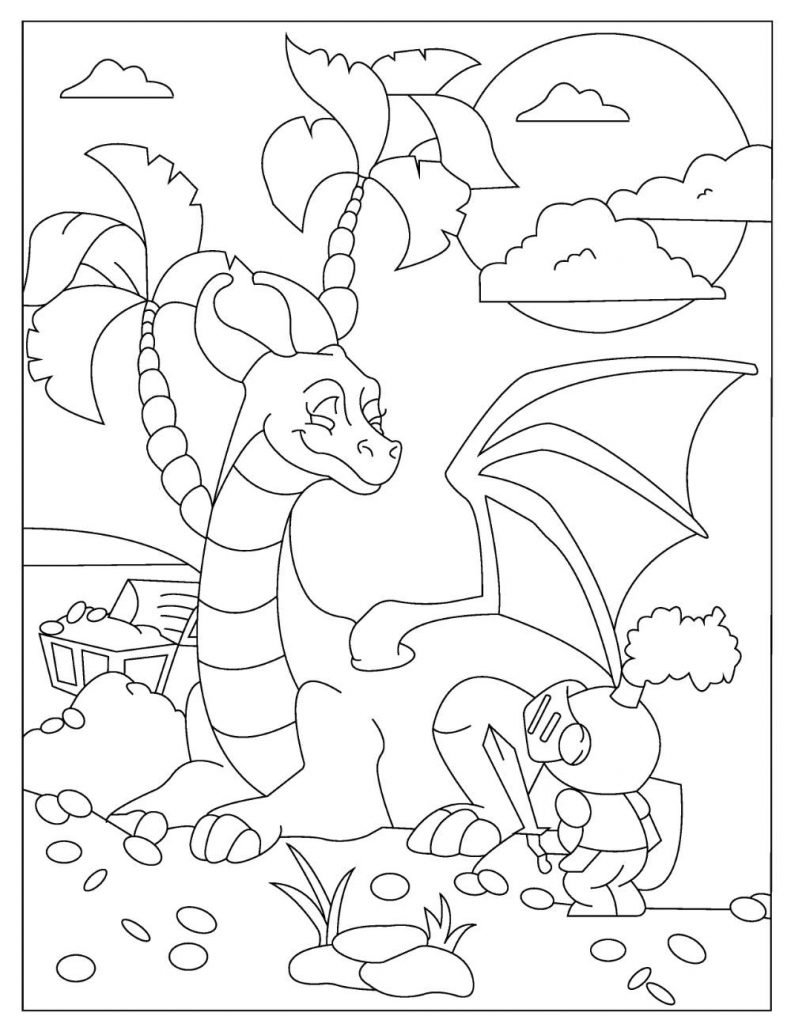 Free DRAGON Coloring Pages for Download (PDF)