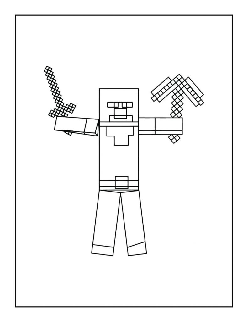 Minecraft Steve with Sword and Pick Axe