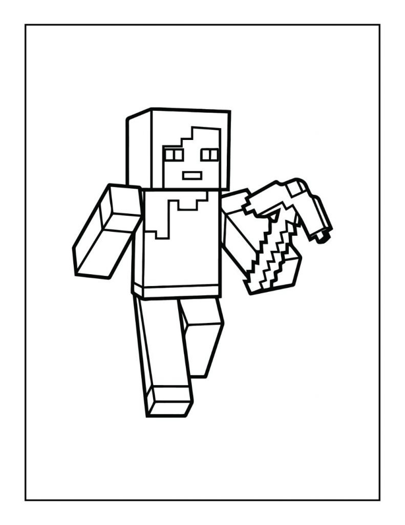 Minecraft Character with Pickaxe