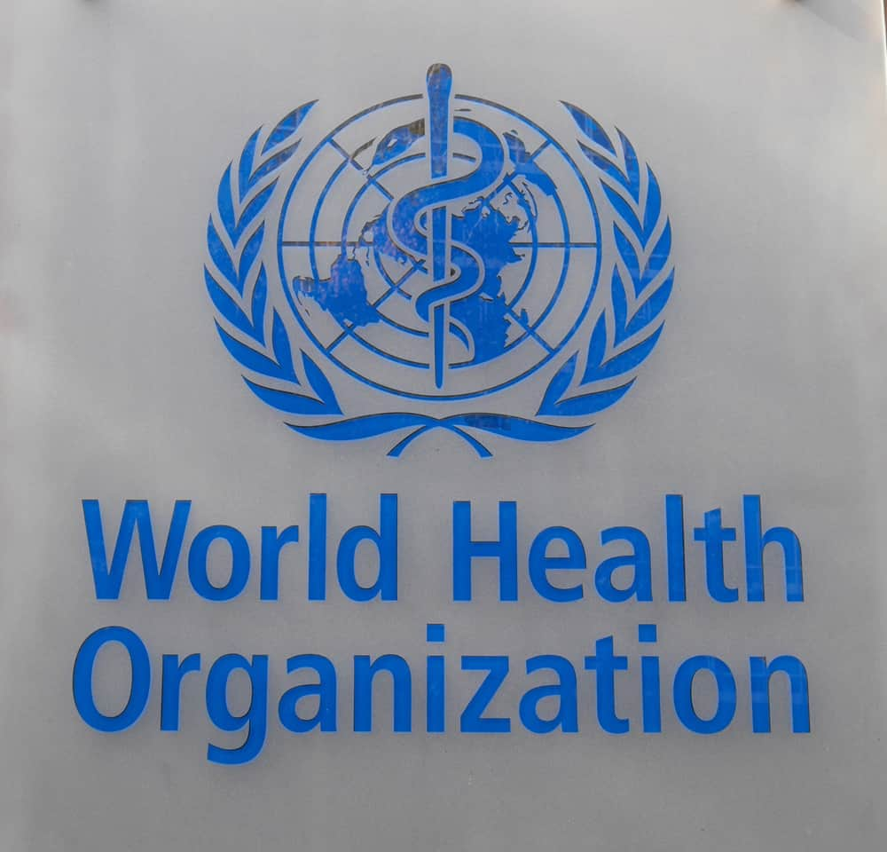 This is a close look at the signage and logo of the World Health Organization.