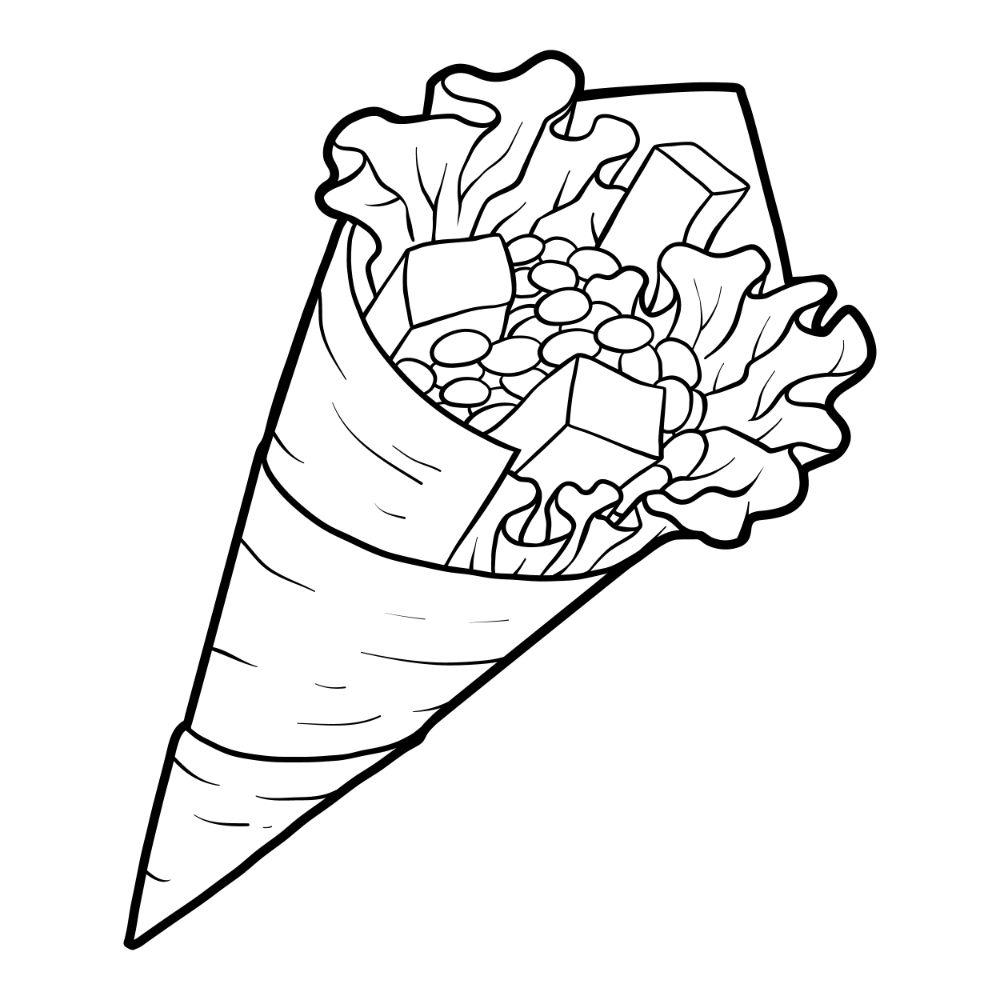 Temaki sushi illustration for coloring.