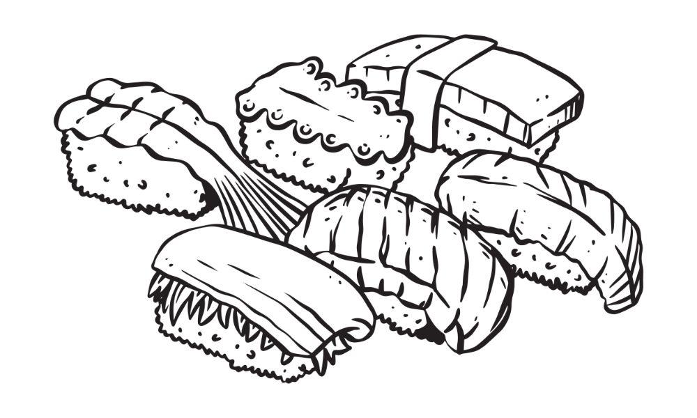 Hand-drawn sushi illustration.