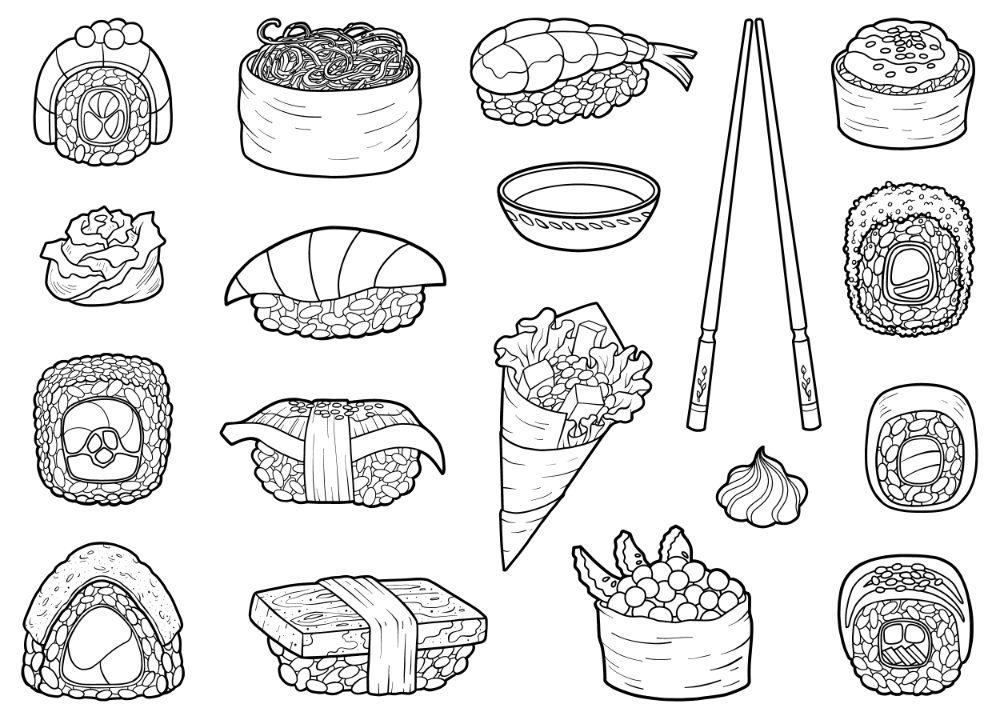 Sushi and sashimi collection.