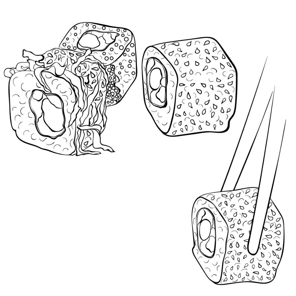 Sushi roll close-up illustration.