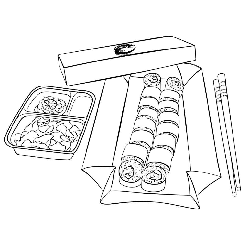 Sushi maki in a box.