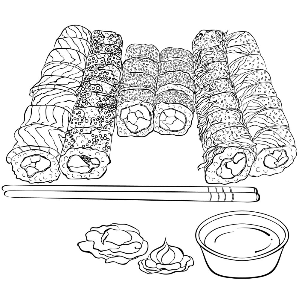 Free SUSHI Coloring Pages for Download (PDF)