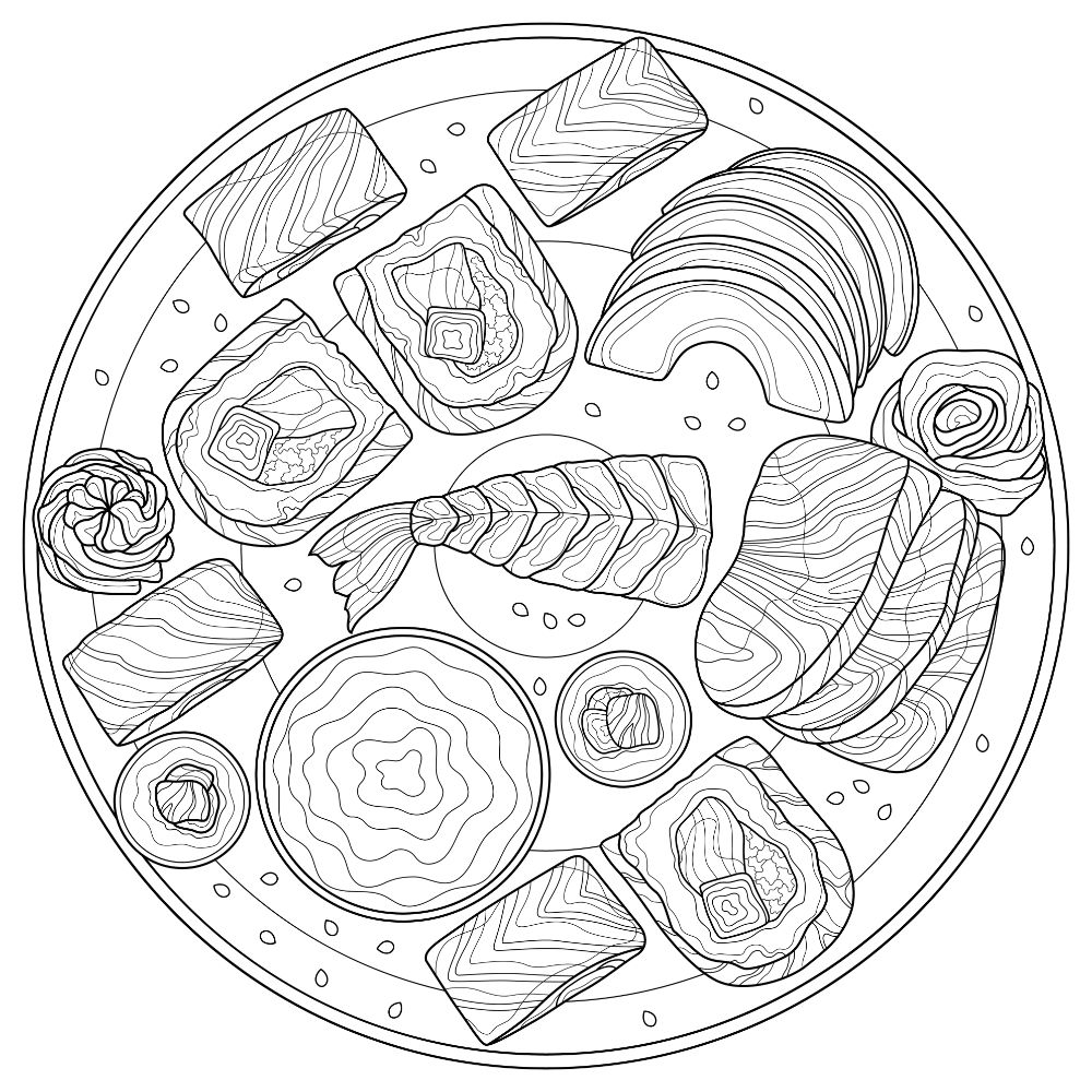 Plate of sushi (coloring).