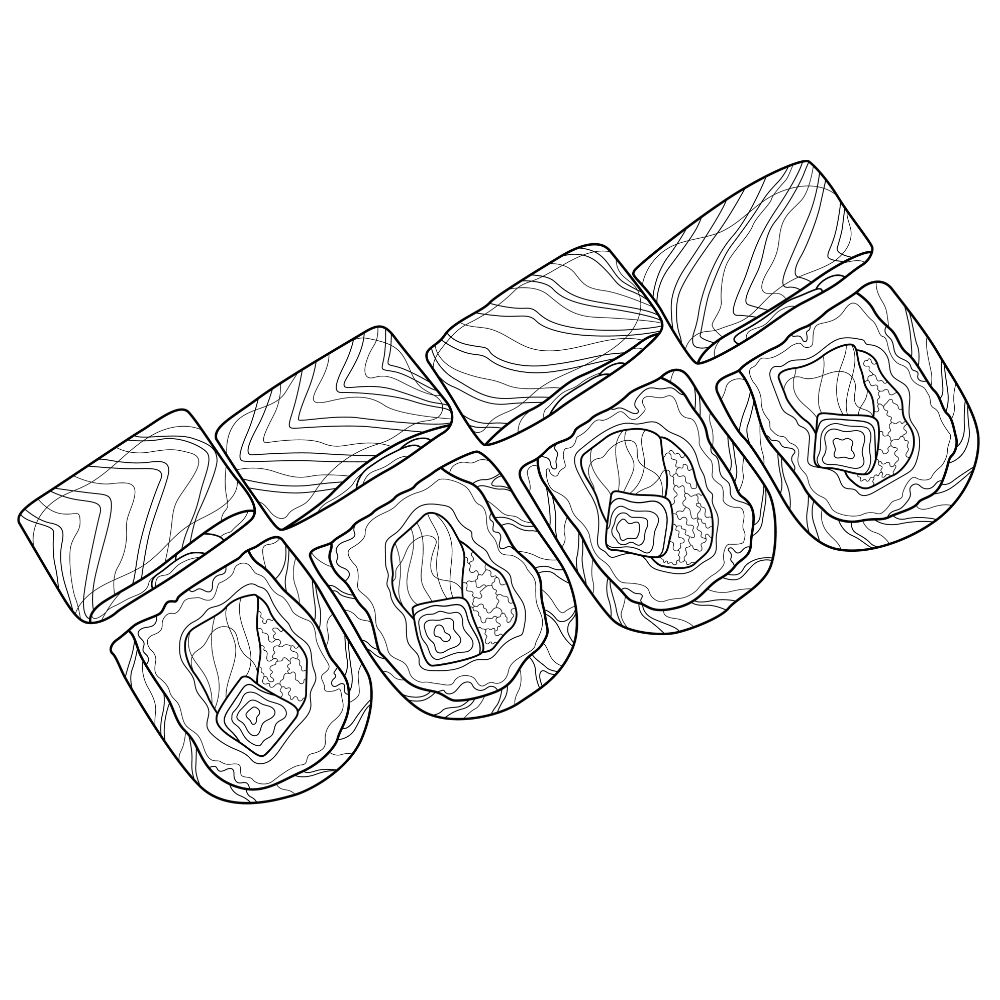 Sushi coloring page on white background.