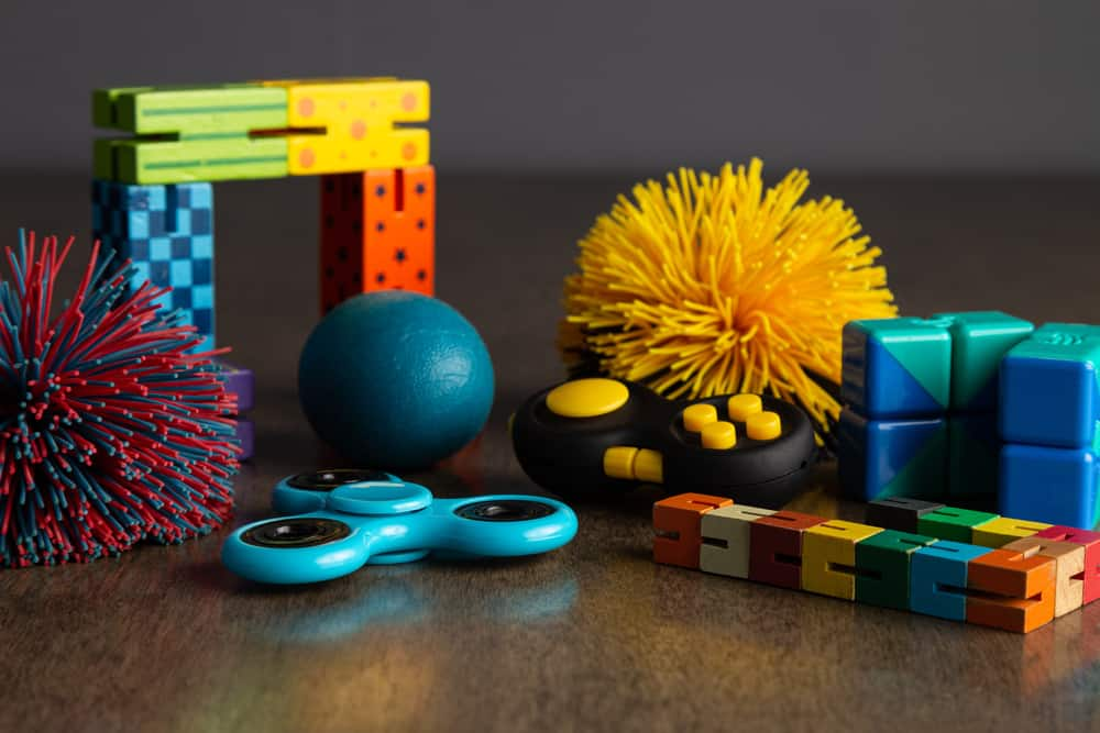 This is a close look at various fidget toys.