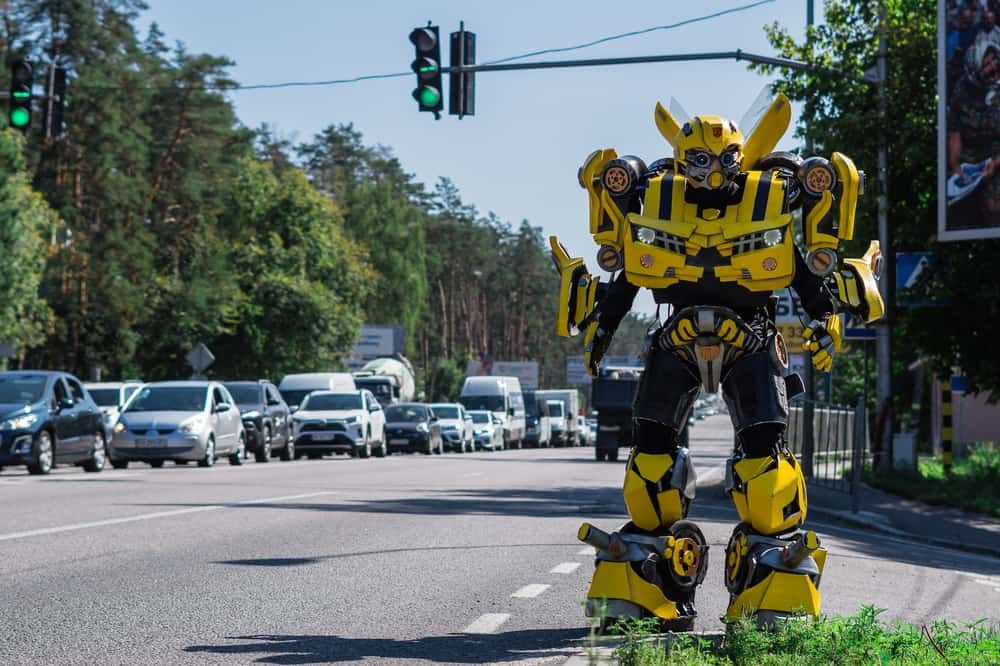 Bumblebee transformer model on the highway.