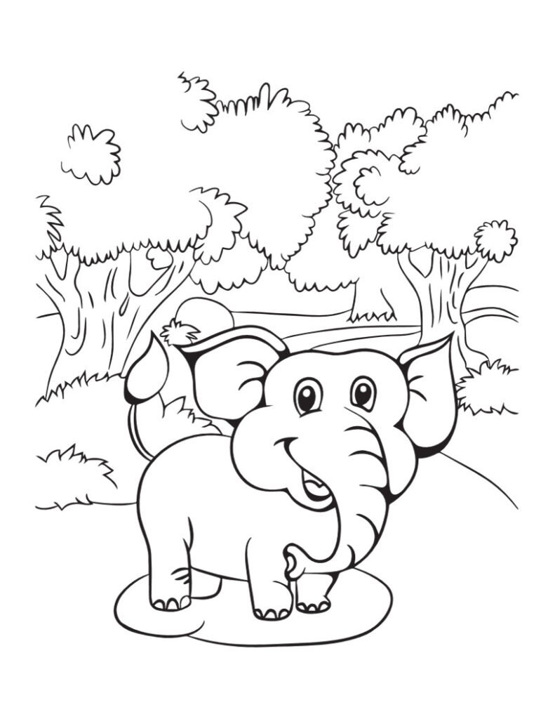 Free ELEPHANT Coloring Pages for Download (PDF)