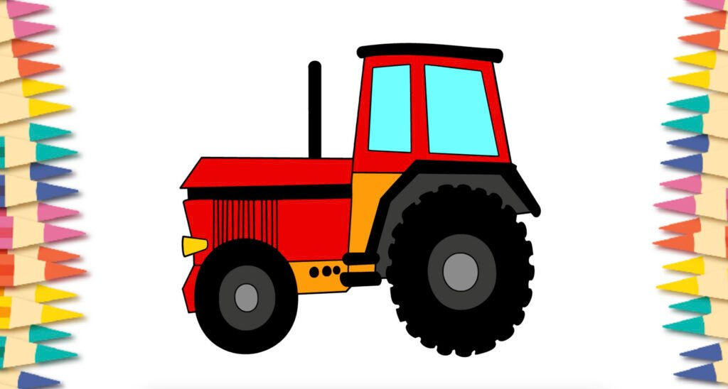 Tractor drawing and filled in with colors.