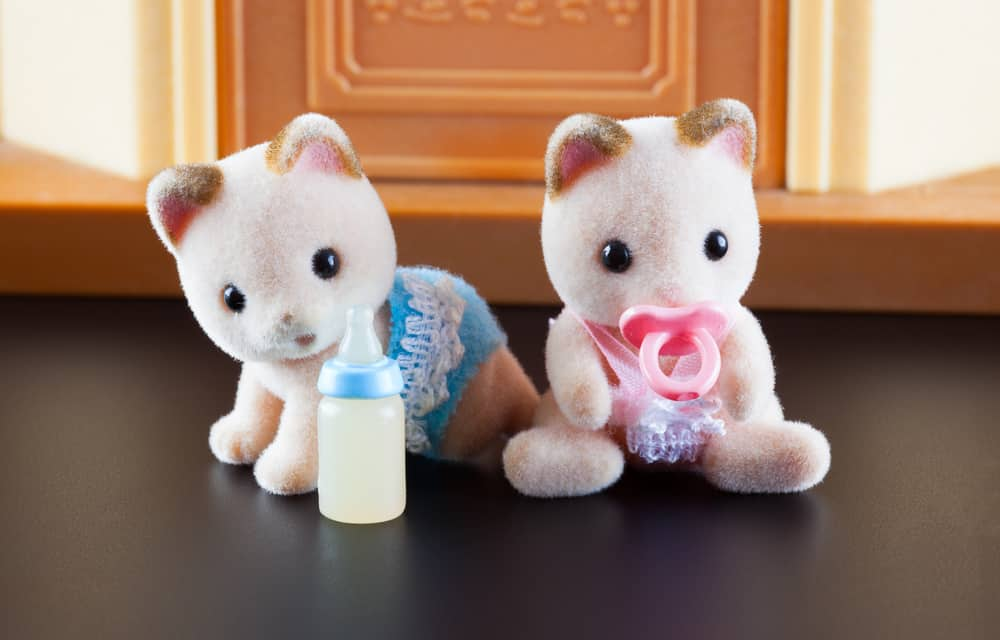 Sylvanian kittens sitting in front of their house.