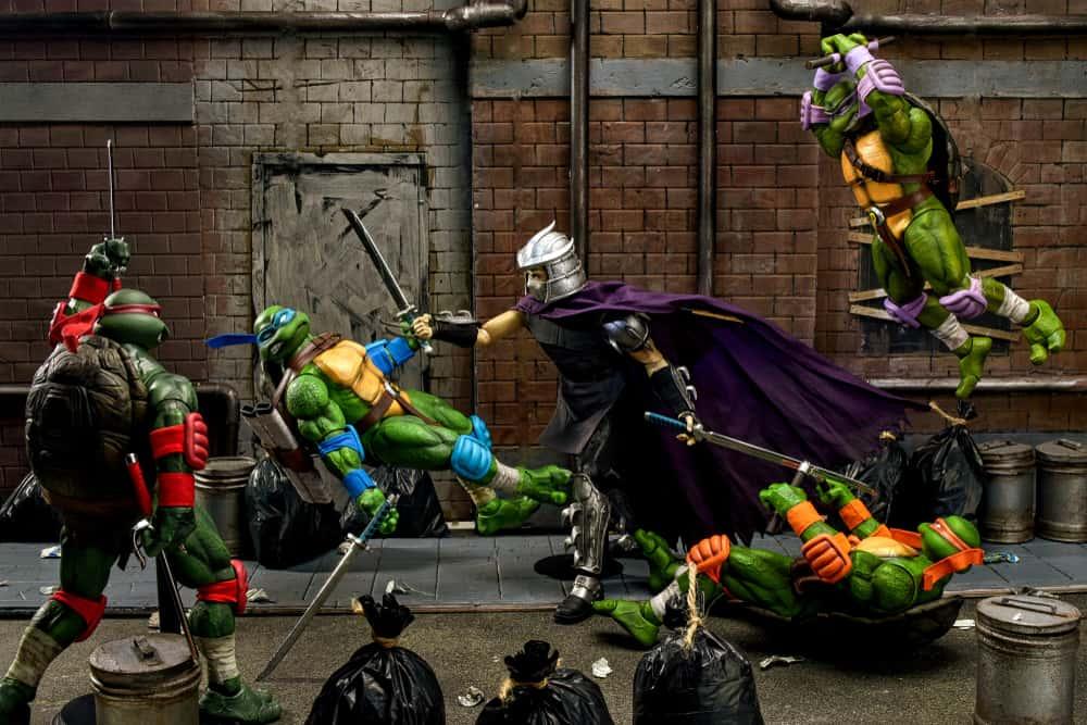 Teenage Mutant Ninja Turtles against Shredder toy photography