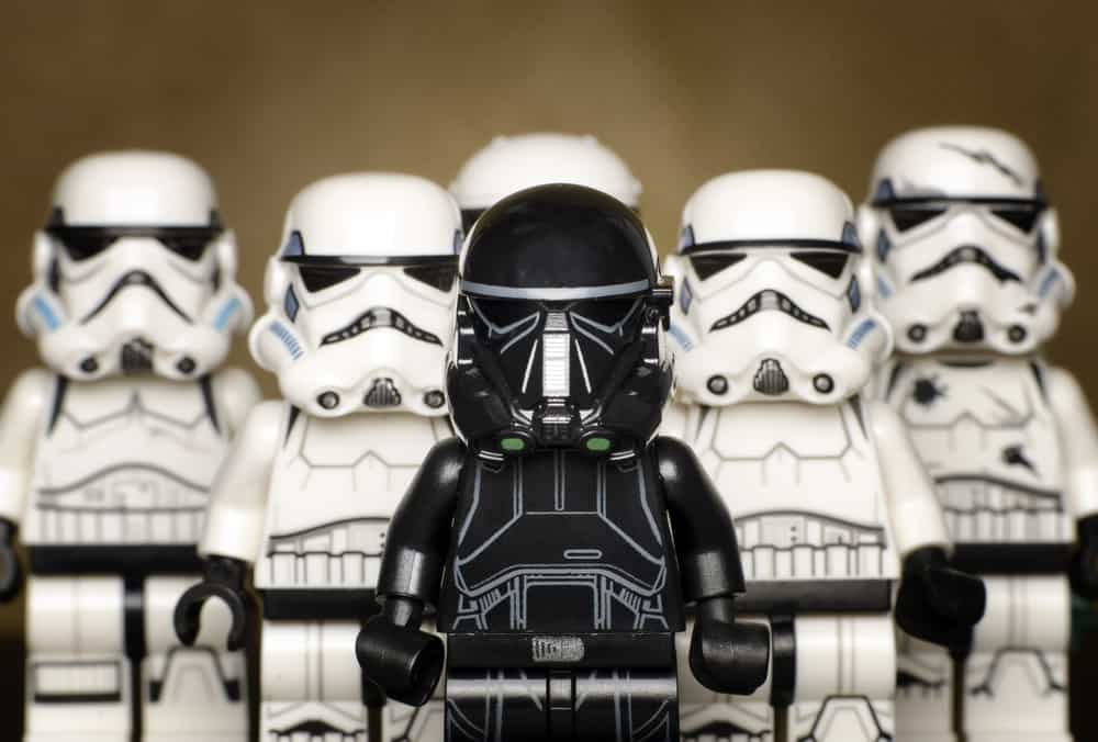 This is a close look at a collection of Lego Storm Trooper Clones from Star Wars.