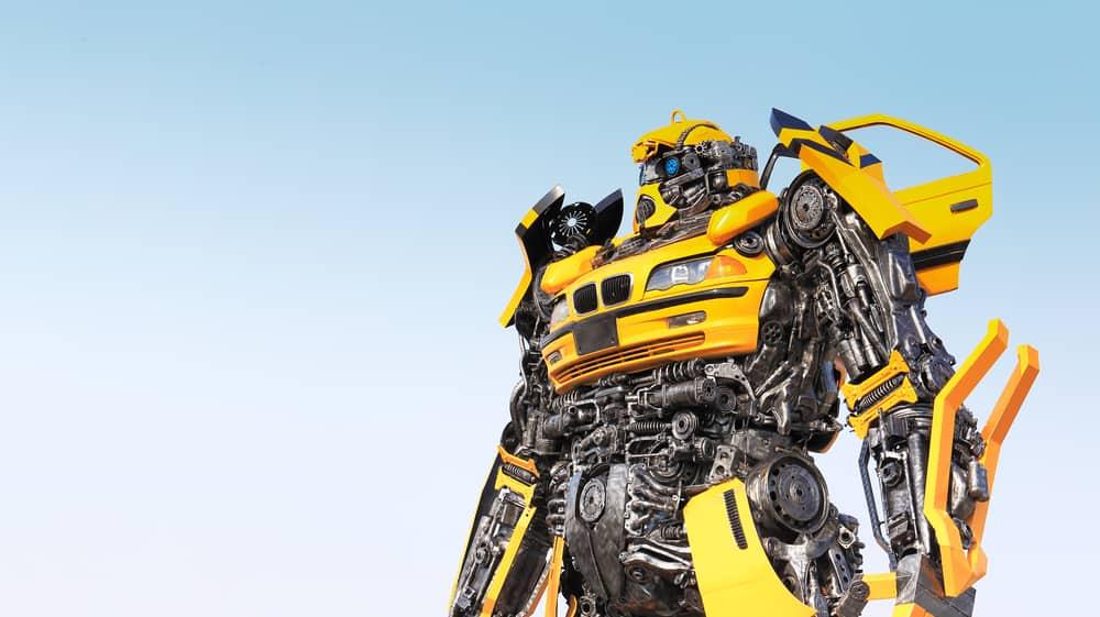 Robot made from scrap metal part of a car.