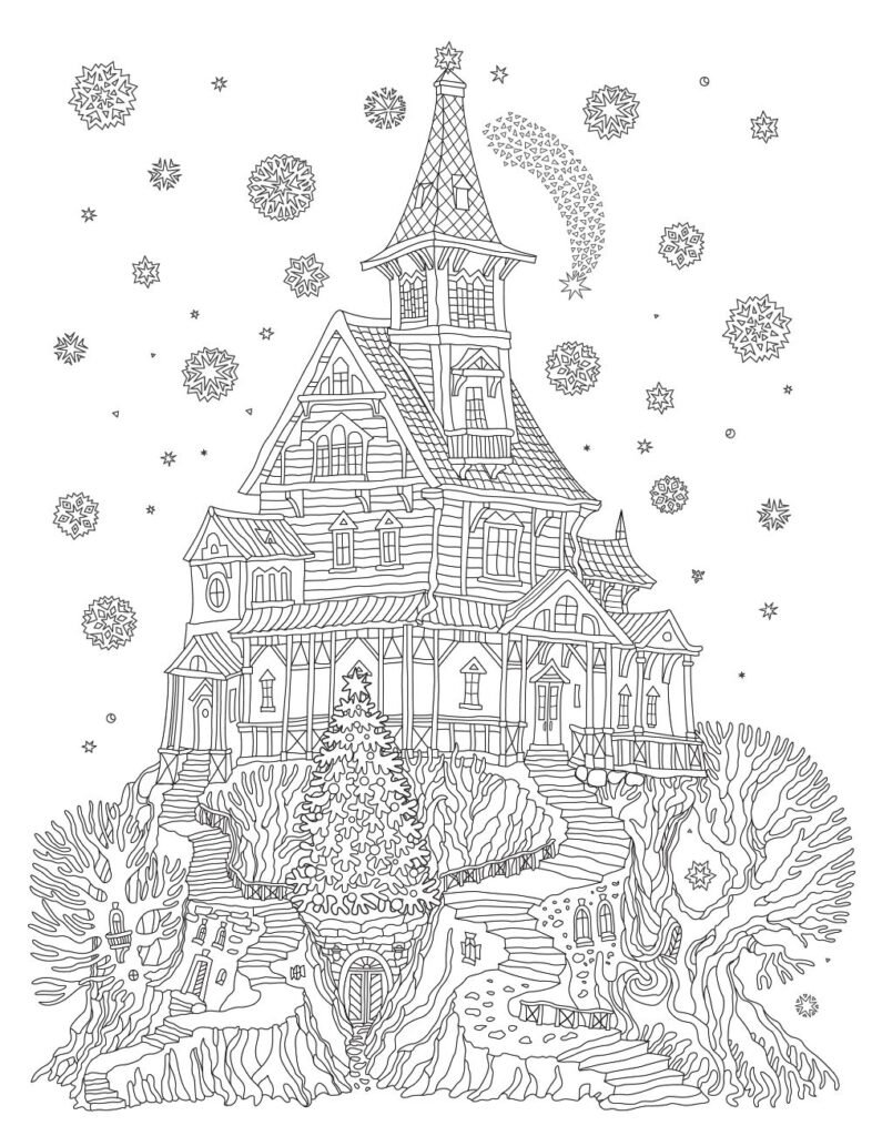 Free TREE HOUSE Coloring Pages for Download (PDF)