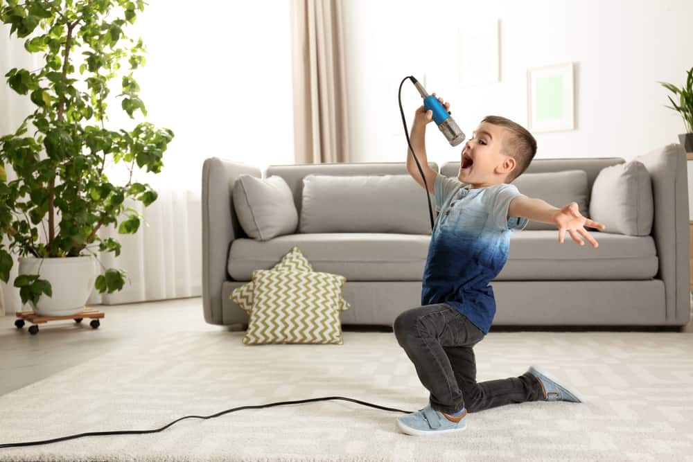 A boy singing in the living room with a microphone in hand.