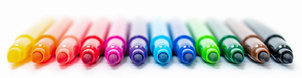 A look at various colorful felt markers.