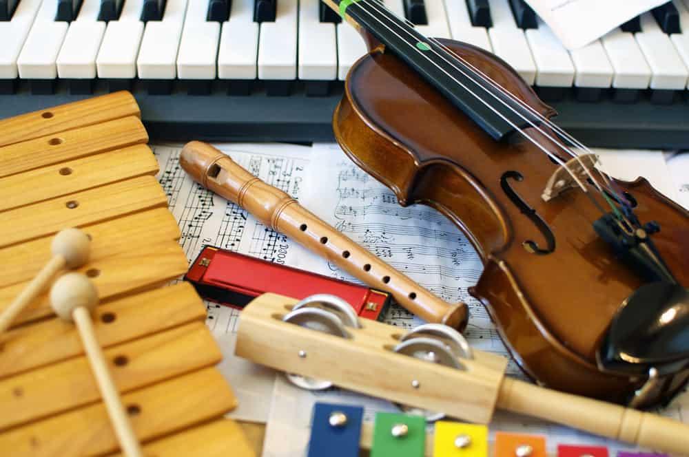 A close look at various music instruments.