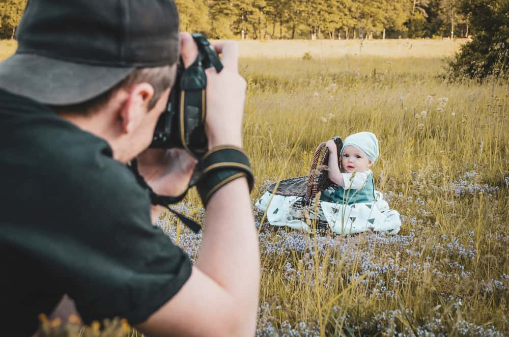 This is a close look at a backyard baby photoshoot.