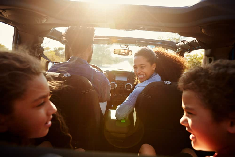 A family having a discussion in the car.