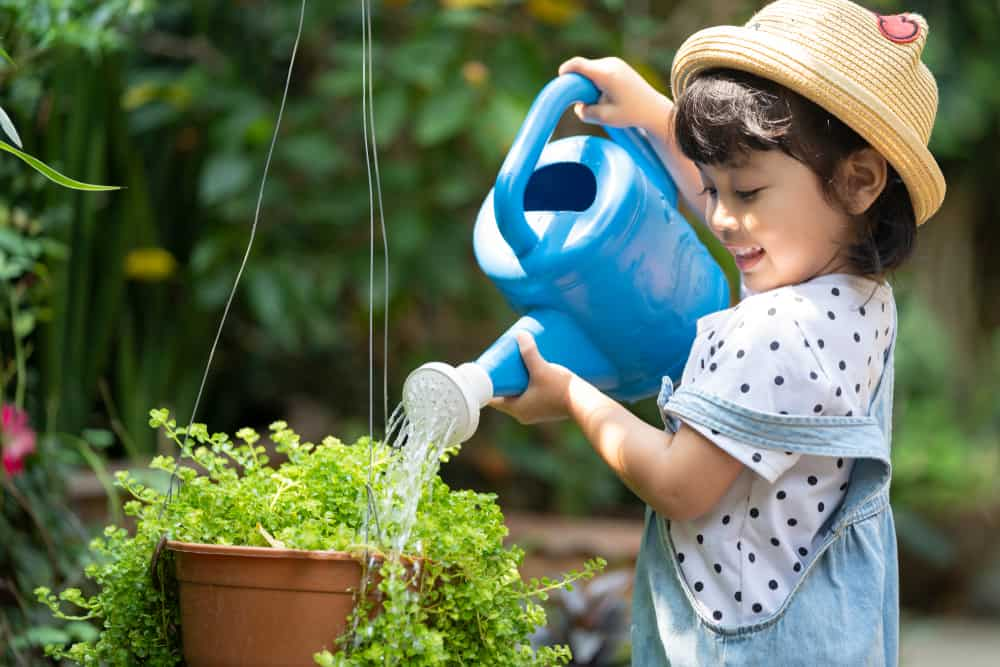 A little girl watering the plants.