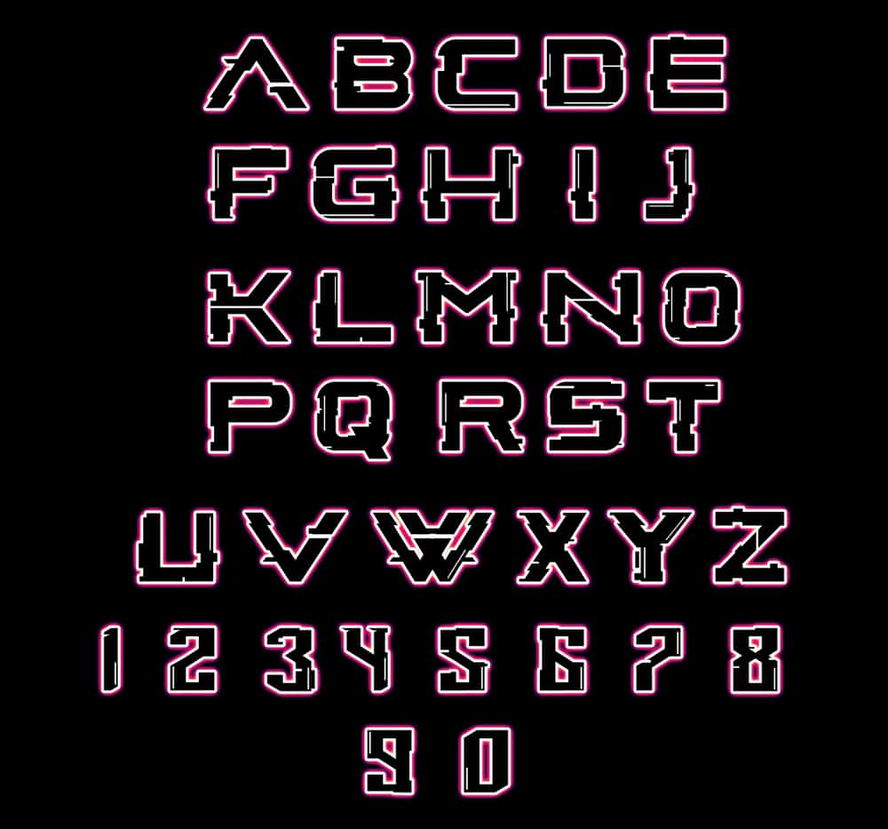 Letters and numbers in a glowing glitchy  font.