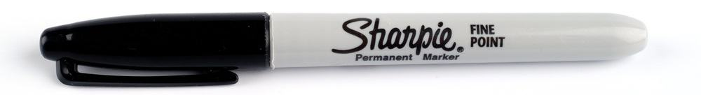 A close look at a black permanent marker Sharpie.