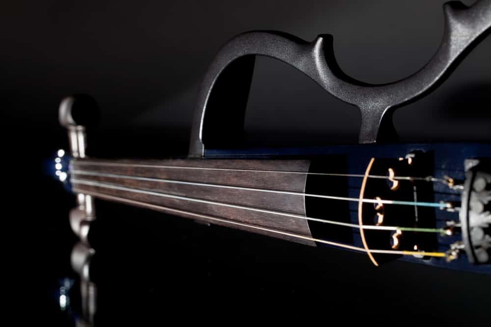 A close look at a modern electric violin.