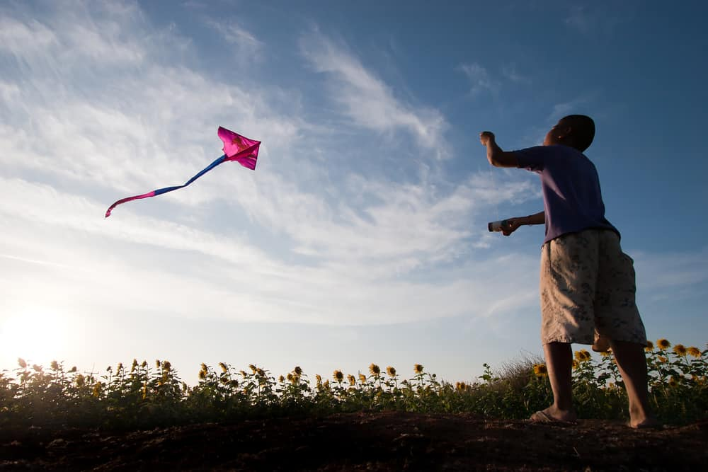 A boy flying a kite during sunset.