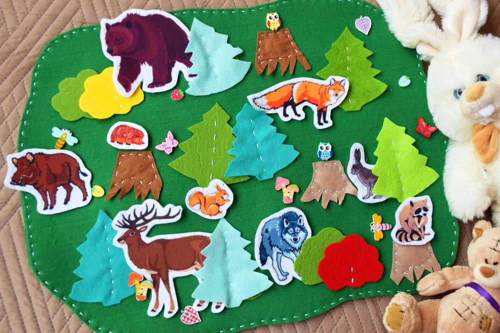 This is a felt board with various cutouts of animals.