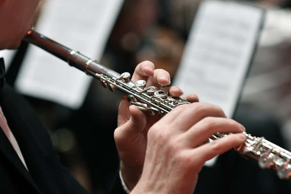 This is a concert flute being played.