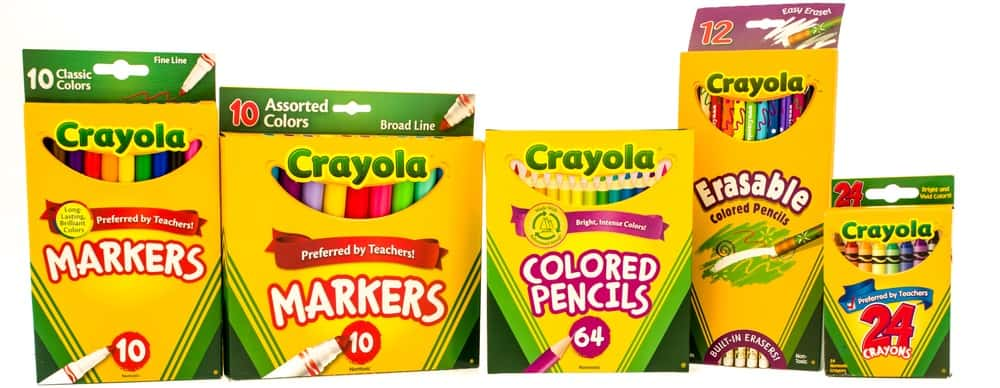 Boxes of Crayola markers, colored pencils and crayons.