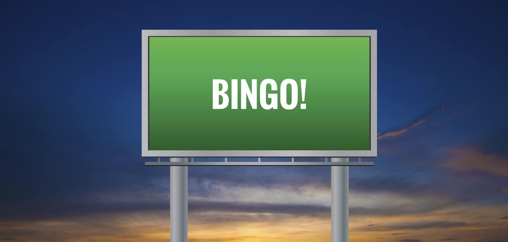 An illustration of a road sign with Bingo written on it.