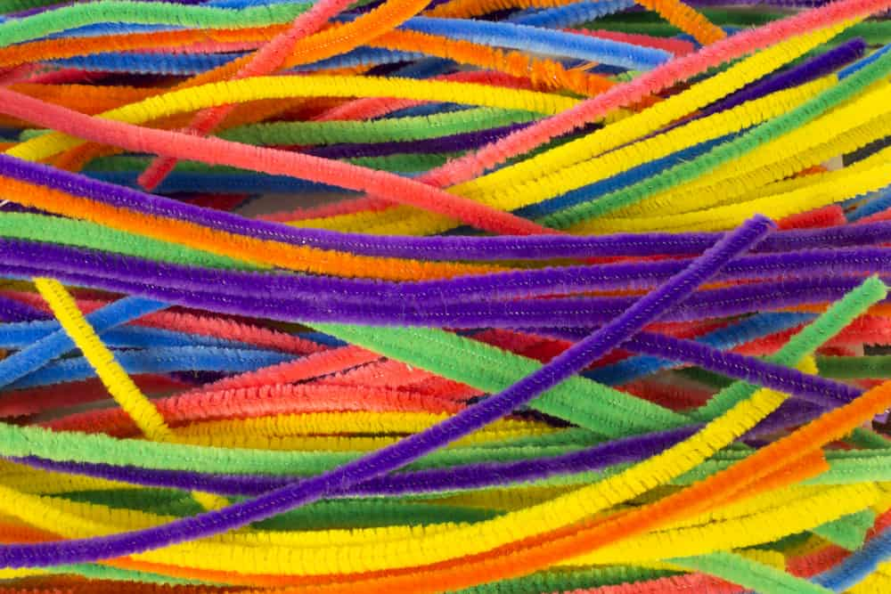 A bunch of colorful neon pipe cleaners.