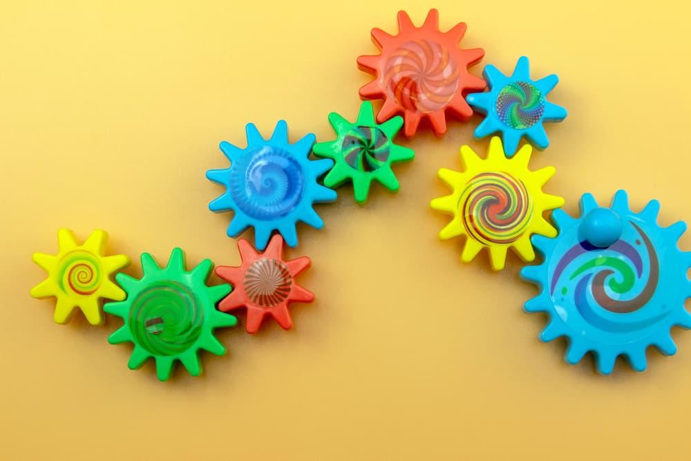 Colorful plastic cogwheels.