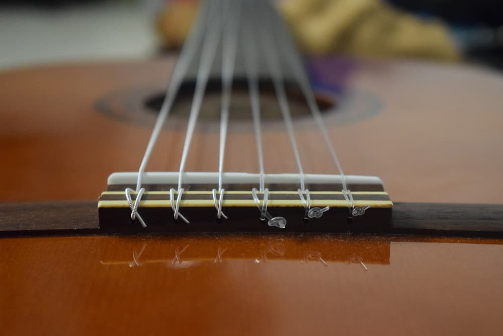 A close look at the nylon strings of an acoustic guitar.