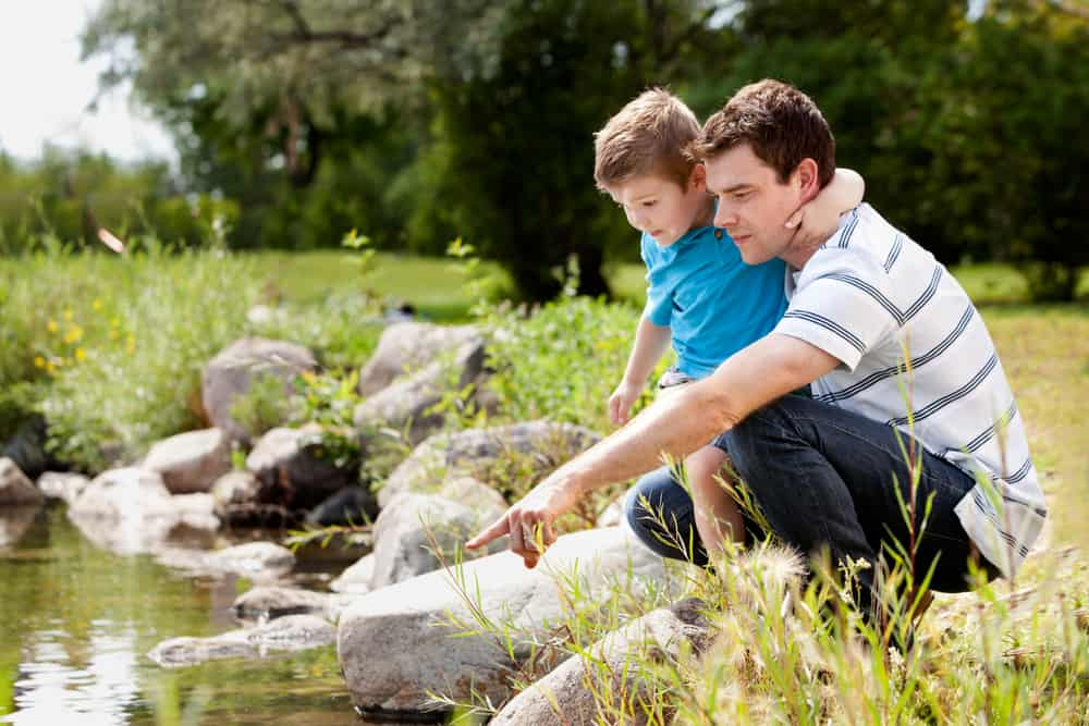A father and son exploring by the lake in a park.