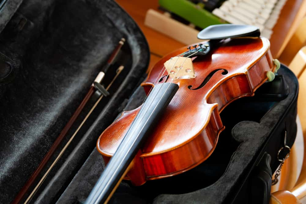 A close look at a fiddle violin in its case.