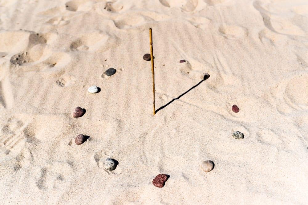 This is a makeshift sundal at a sandy beach.