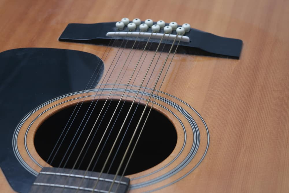 This is a close look at a twelve-string guitar.