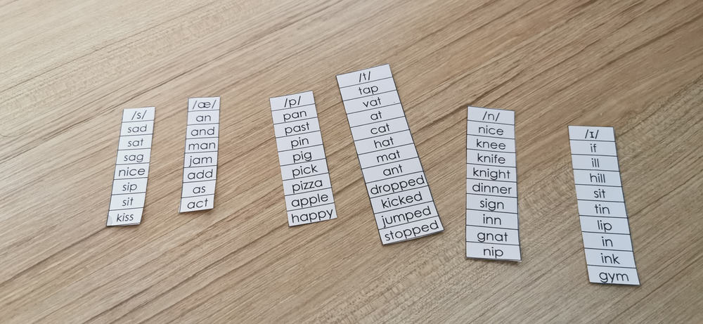 Words grouped by phonetic sounds.